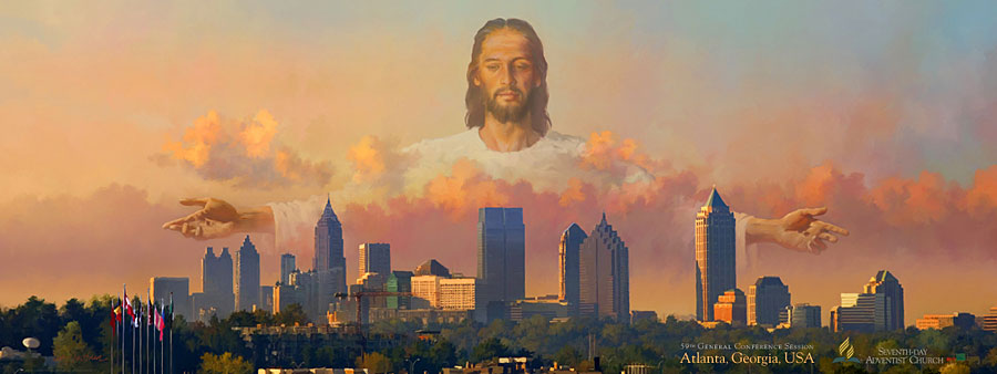 Sda General Conference Poster Jesus Over Atlanta