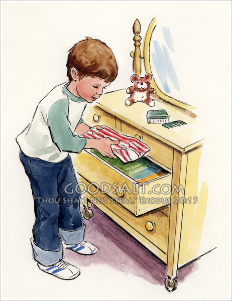 Put Clean Clothes Away ~ Boy putting clothes in drawer