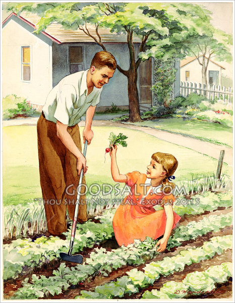 Father and Girl in Garden