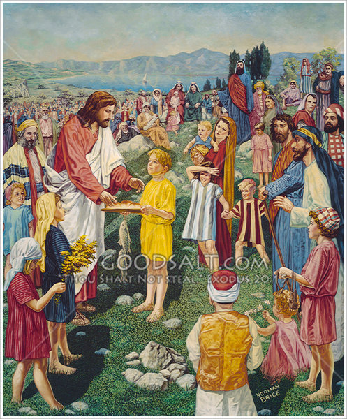 Jesus feeds the five thousand for Loaves and fishes bible story
