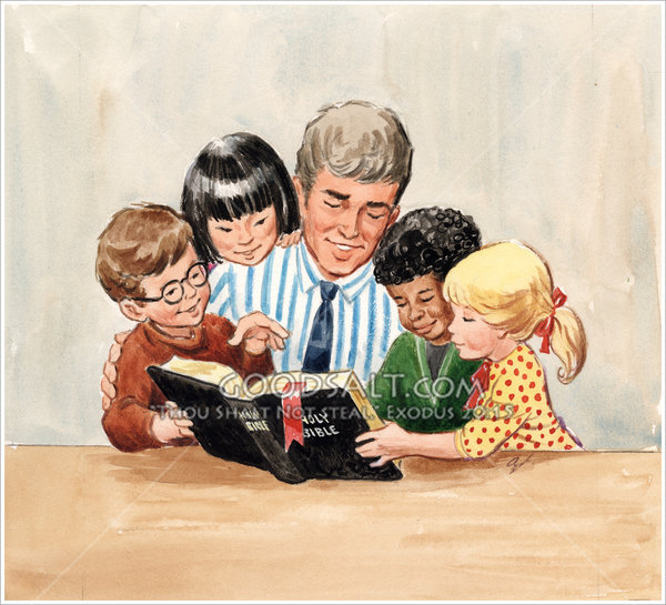 Teacher with four children reading bible